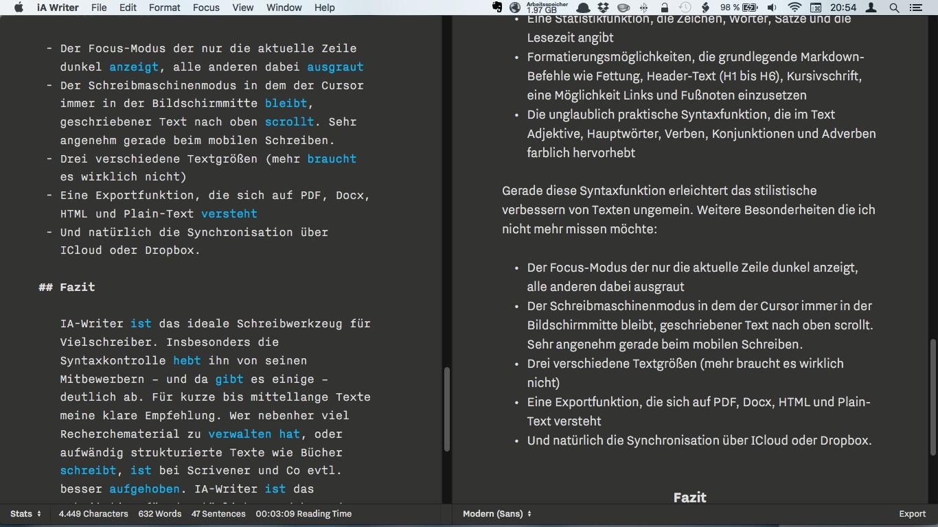 Links der Originaltext, rechts die Darstellung im Vorschaumodus. Unten ist die Statistikfunktion zu sehen. Ich benutze auch tagsüber den Nachtmodus, da er optisch wirklich ansprechend und sehr augenfreundlich ist.